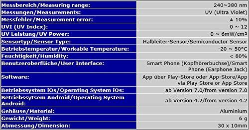 SMART UV MEDIDOR UVA/UVB RADIACIÓN SOLAR SOLARIO PARA SMARTPHONE IPHONE SMU: Amazon.es: Industria, empresas y ciencia