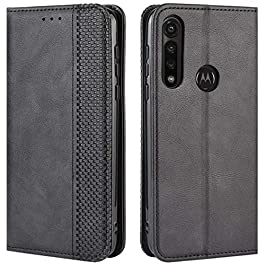 HualuBro Motorola Moto G Power Case, Retro PU Leather Full Body Shockproof Wallet Flip Case Cover with Card Slot Holder…