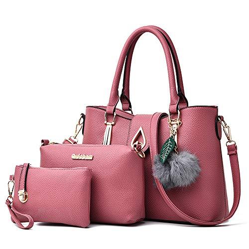 Portafoglio Pink Unita purple Pu Di Pezzi A Mali Borsetta Tracolla Palla 3 Borsa Semplice Ms Moda Capelli Tinta Per Set OgHSxHn1wR