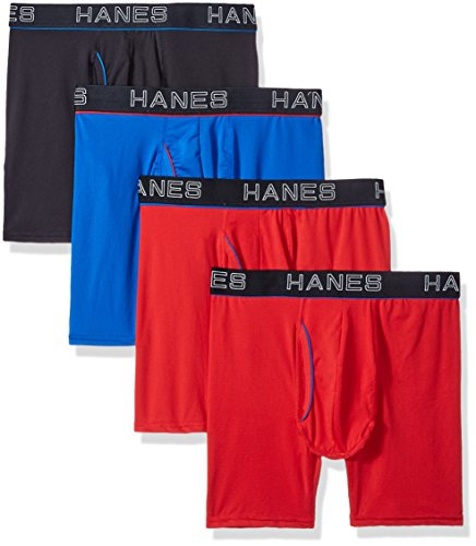 Hanes Ultimate Men's Comfort Flex Fit Ultra Lightweight Mesh Boxer Brief 4-Pack, Assorted, Small