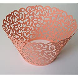 12 pcs Classic Filigree Lace Cupcake Wrappers Wrapper for Standard Size Cupcake Liners (Peach Coral)