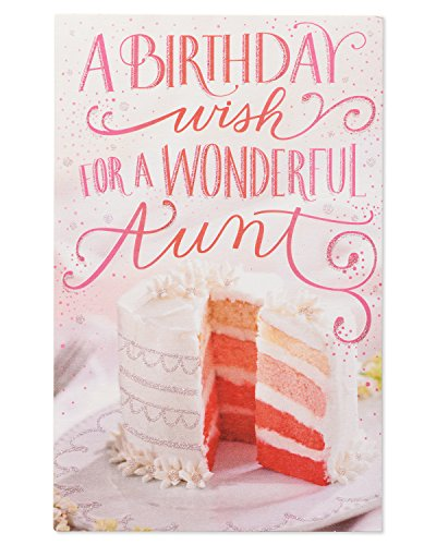 Pink Cake Birthday Card for Aunt with Glitter