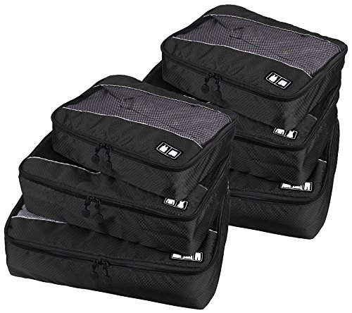 Travel Packing Organizers - Clothes Cubes Shoe Bags Laundry Pouches For Suitcase Luggage, Storage Organizer 6 Set Color Black by TRAVELIN