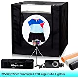 32x32x32inch 5500K Dimmable LED Large Photo Studio Cube Box Lightbox Kits Photography Lighting Shoot Tent Softbox with Dimmer Adapter,Mini Tripod and 3 Colors PVC Backdrops in Carry Bag