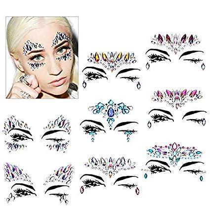 75c0c08b2 Konsait 8 Pack cara gema joyas maquillaje cara Tatuajes Temporales Glitter rhinestone  adhesivo para Festival de