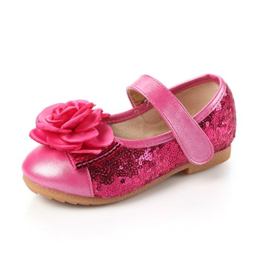 Sparkly Slip-On Breathable Ballet-Flat Flower Dress Mary Jane Princess Shoes For Girls (Toddler/Little Kid) Rose Red
