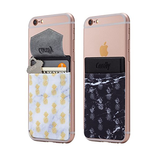 (Two) Secure Cell Phone Stick On Wallet Card Holder Phone Pocket for iPhone, Android and All Smartphones. (Marble Pineapple)