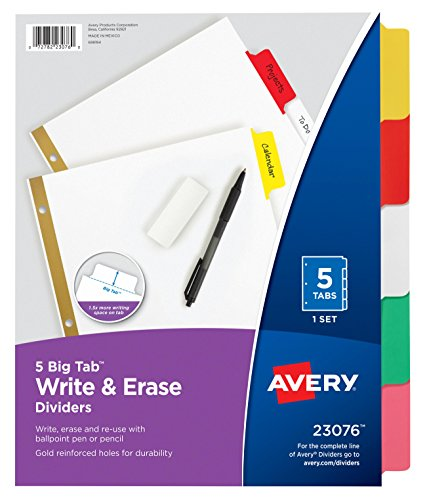 Avery Big Tab Write & Erase Dividers, 5 Multicolor Tabs, Case Pack of 48 Sets (23076)