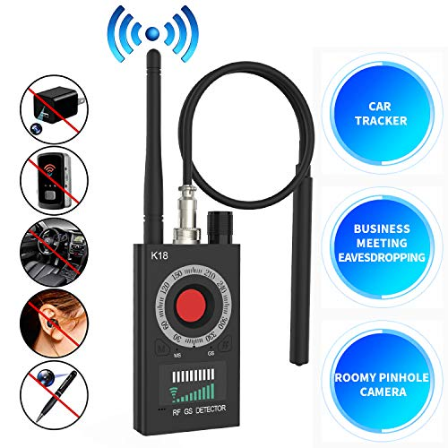 Dooreemee Anti Spy RF Detector Wireless Bug Detector Signal for Hidden Camera Laser Lens GSM Listening Device Finder Radar Radio Scanner Wireless Signal Alarm(Black)