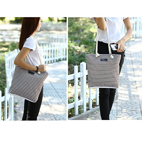 Beach Tote Striped Coffee Ladies Canvas Stripe Bag Summer Meliya Oversized Shoulder Bag Blue Shopping RtwFHWq8