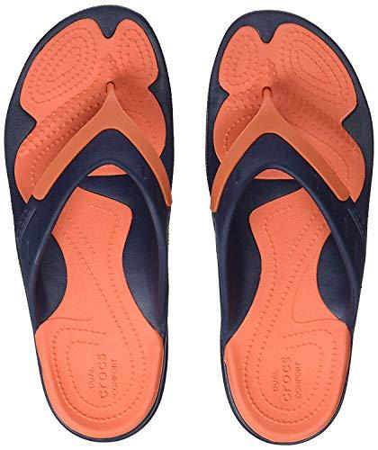 Crocs Unisex MODI Sport Flip-Flop, Size: 4 D(M) US Mens / 6 B(M) US Womens, Color: Navy/Tangerine 202636-4V9-M4