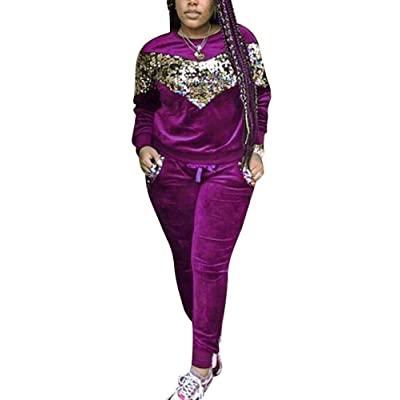 Womens Two Piece Outfits Velvet Sequin Patchwork Long Sleeve Sweatshirt Skinny Long Pants Tracksuit Set at Women's Clothing store