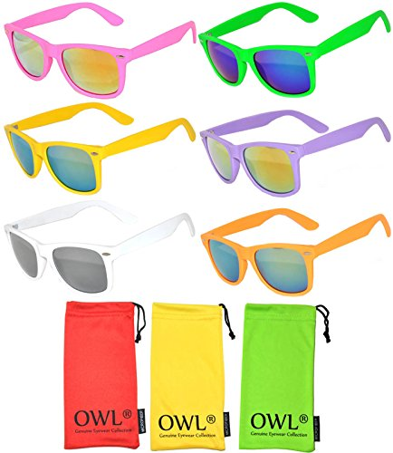 Wholesale Bulk Colorful Mirror Lens Sunglasses 6 Pack with 3 soft microfiber - School Sunglasses