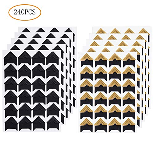 SUMAJU 240 Pieces Photo Corners Stickers, Gold and Black Self Adhesive Photo Mounting Corners Sticker for DIY Scrapbook, Picture Album, Personal - Gold Photo Corners