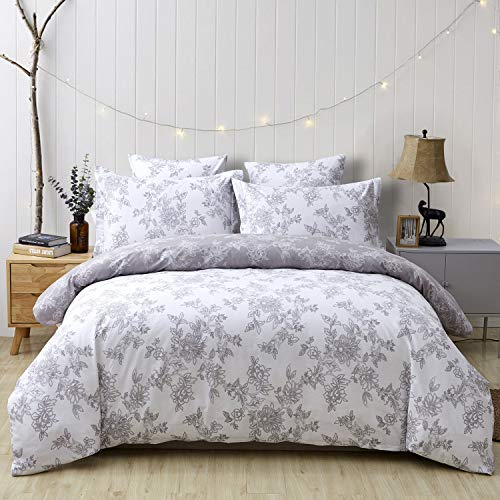 FADFAY Reversible Duvet Cover Set Twin XL Vintage Floral 100% Cotton Soft Hypoallergenic Grey and White Bedding with Hidden Zipper Closure 3 Pieces, Twin Extra Long Size for Dorm Room (Covers Twin Xl Duvet)