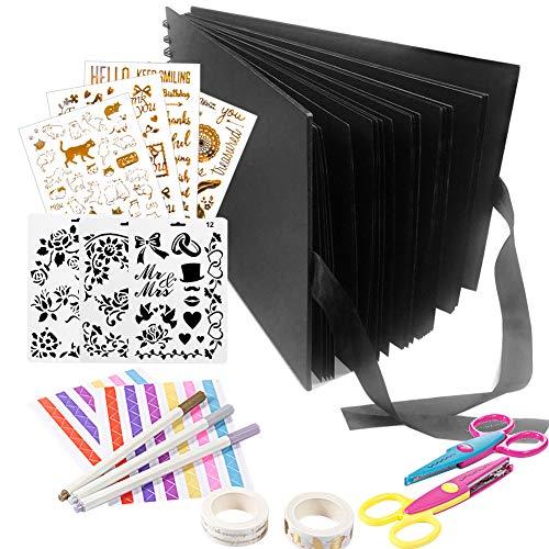 YZNlife Scrapbook Alblums,Handmade DIY Family Scrapbook,Wedding Photo Album,Anniversary Scrapbook,Travel Album,Baby Photo Album,Black
