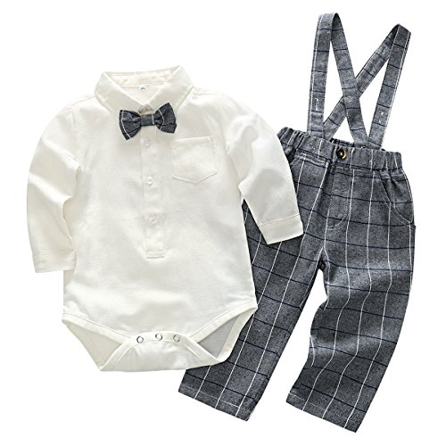 Toddler Baby Boy Gentle Tuxedo Lattice Formal Wear with Bowtie Suspender Outfit Jumpsuit White/Grey for 6-9 Months