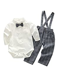 Newborn Baby Boy Gentlemen Rompers Plaid Suspender Pants Outfit Wedding Formal Wear with Bowtie White/Grey for 12-18 Months