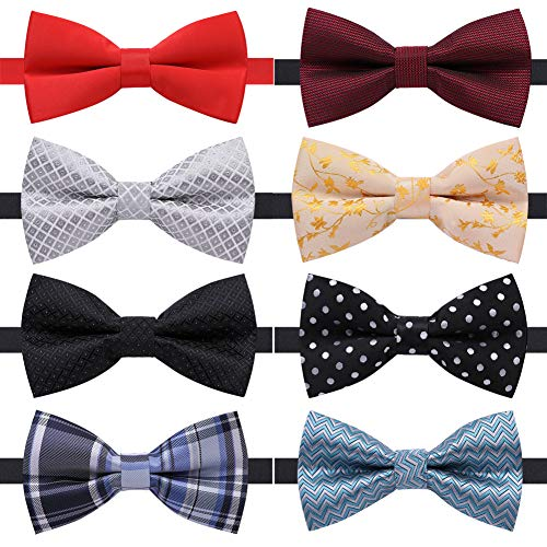 (AUSKY 8 PACKS Elegant Adjustable Pre-tied bow ties for Men Boys in Different Colors (S))