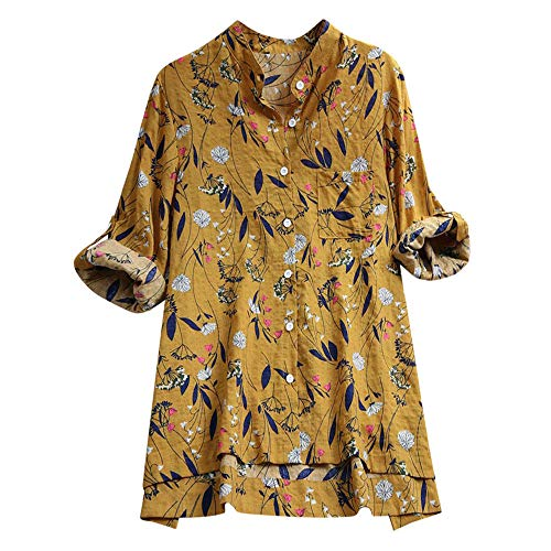 - JOFOW Shirts Womens Cotton Linen Button Long Sleeve No Collar Tops Boho Floral Flowers Leaves Print Loose Casual Retro Blouse (3XL,Yellow)