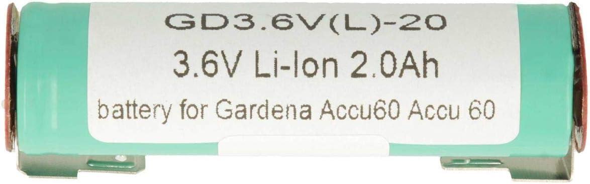 Piles 2000mAh 3,6V LI-ION pour Gardena Bmz 1s1puf18650vti Kärcher Wv50 Plus