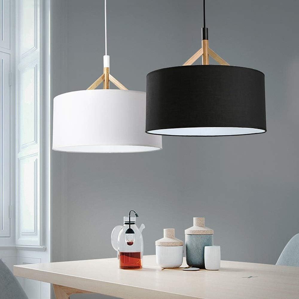 ZGYZ Pendelleuchte Persönlichkeit Schlafzimmer Restaurant Beleuchtung Holz runder Stoff Kronleuchter (schwarz) Schwarz