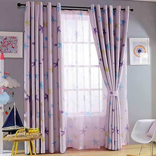 Nibesser 85% Blackout Curtains for Girls Room Darkening Thermal Insulated Blackout Drapes Starfish Print Grommet Top Panel Window Treatment for Nursery Kids Room,2 Panels(42W x 63L Inch, Pink)
