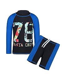 TFJH Kids Boys UPF 50+ UV Sun Protective Long Sleeve Two Piece Swimsuit