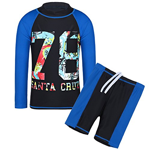 TFJH E Teen Boys Rash Guard Suit UPF 50+ UV Sun Protective 2pcs Kids Swimming Custumes Sportwear Black 8A