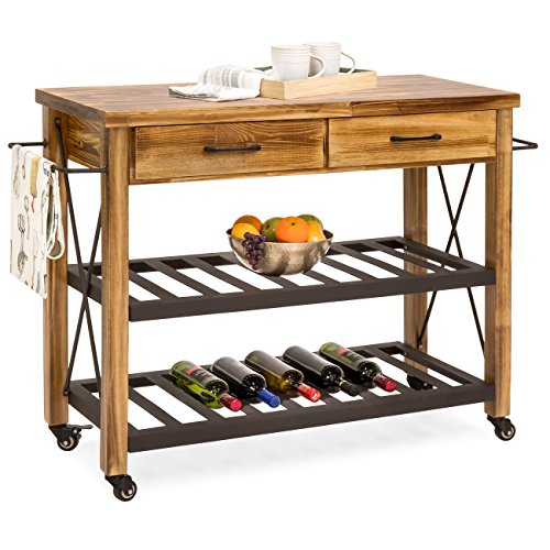 Best Choice Products Modern Industrial Kitchen Cart w/Lockable Wheels, Side Towel Bar, Drawers - Natural