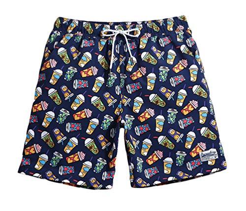WUAMBO Mens Swim Trunks Boardshorts Quick Dry Swimwear Bathing Suits Ice Cream Printed Short with Mesh Lining, Pocket/Medium (Waist:30