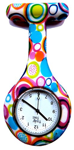 Brand New Fashion Silicone Nurses Brooch Tunic Fob Watch New With FREE BATTERY by Boolavard® TM (Colourful Bubbles)