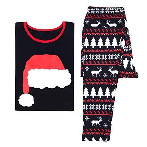 pezzi abbinamenti Imposta e per 2 Stampato Vestito per natalizio Pigiama la Pigiameria Nero madre per padre la casa famiglia Mamma Indumenti Junkai qx6wgUO