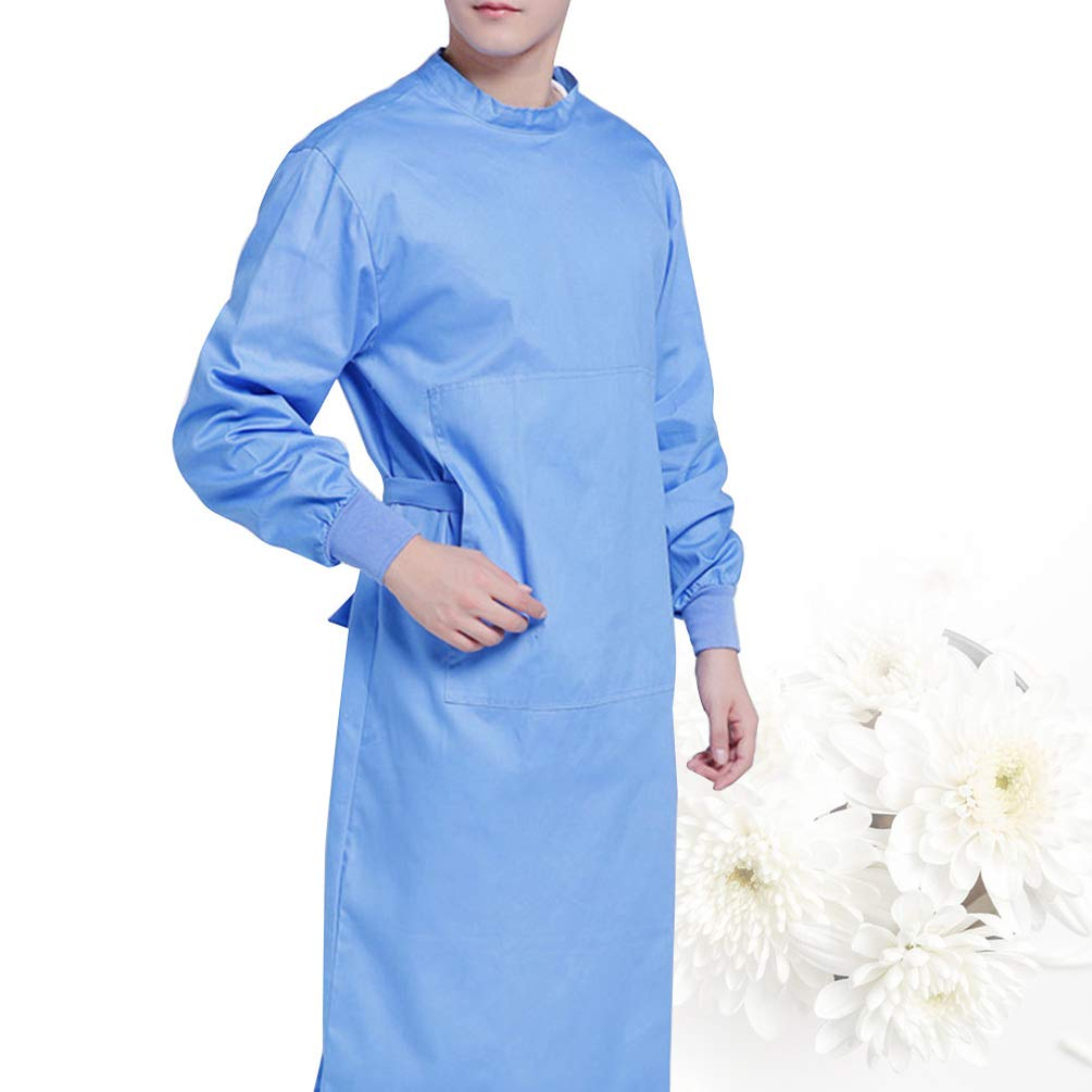 TENDYCOCO Camice per Isolamento Medico Camice per Isolamento Chirurgico Camici Protettivi per Industrie Ospedaliere Laboratori Forniture Mediche Blu S