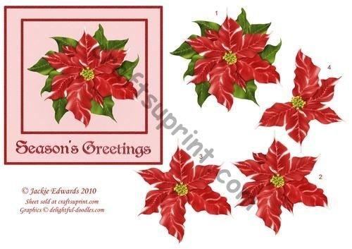 Poinsettia decoupage card anteriore di Jackie Edwards Craftsuprint