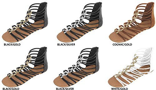DDI 2131536 Womens PU Gladiator Sandals with Metal Accents - Case of 36