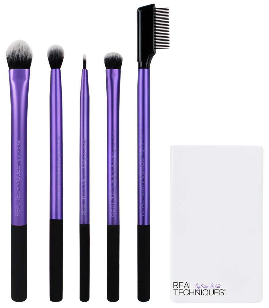 Real Techniques Cruelty Free Enhanced Eye Set, Includes: Medium Shadow, Essential Crease, Fine Liner & Shading Brushes, Lash Separator, and Brush Cup