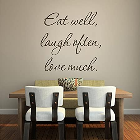 Motivation Wall Quotes Words Art For Kitchen Dining Room Living Room Vinyl Positive Wall Decal Sticker Mural Art Eat Well Laugh Often Love Much Medium Custom Amazon Co Uk Kitchen Home