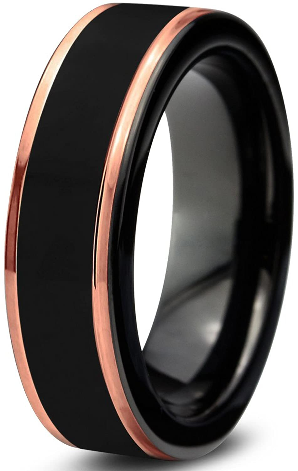 black 18k rose gold stepped edge polished tungsten wedding band ring 6mm comfort fit amazoncom - Black Mens Wedding Ring