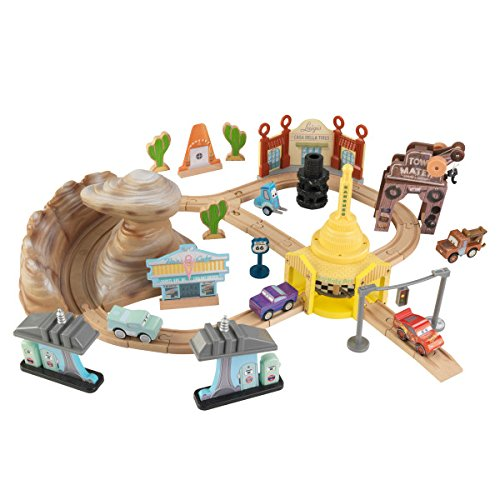 KIDKRAFT DisneyPixar Cars 3 Radiator Springs 50 Piece Wooden Track Set with Accessories