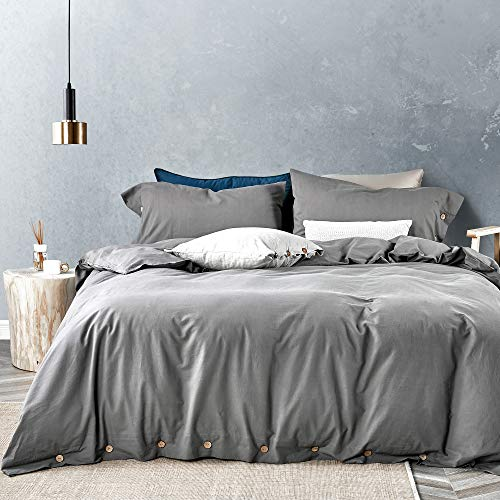 JELLYMONI Grey 100% Washed Cotton Duvet Cover Set, 3 Pieces Luxury Soft Bedding Set with Buttons Closure,Solid Gray Color Pattern Duvet Cover King Size(No Comforter)