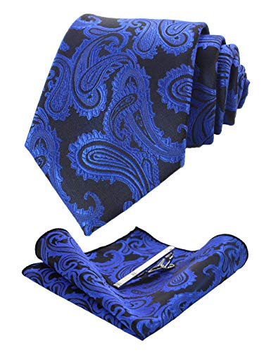 JEMYGINS Blue Paisley Tie and Pocket Square, Silk Necktie with Tie Clip Sets for Men (12) ()