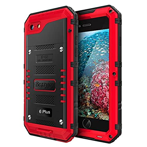 Iphone 6 Plus Case with Built-in Screen Military Grade Protective Heavy Duty Metal Cover by Beasyjoy Dropproof Shockproof Dirtproof Waterpproof Rugged Case For Outdoor Sport Protection (Iphone 6 Plus Military Metal Case)