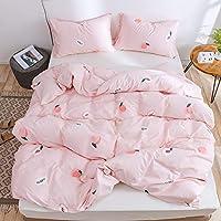 Lurson Girls Blush Pink Duvet Cover Full Set Fruit Peach 100% Organic Cotton Teens Baby Pink Cute Sweet Peach Reversible…