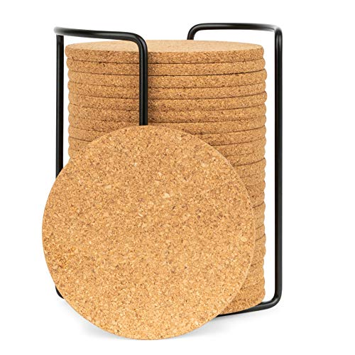 Olivia & Aiden Cork Coasters Set | 24 Piece Set | Round Thick, Super Absorbent | Fits Cups, Mugs, Wine Glasses | Heat-Resistant Counter and Table Protection | Includes Metal Coaster Holder -