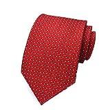 MENDENG Red Woven Jacquard Silk Men's Suits Ties Necktie