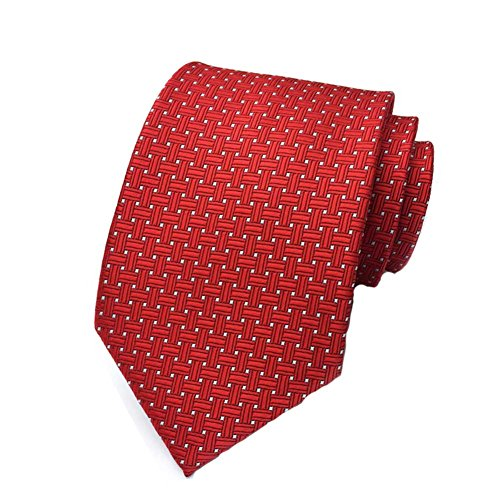 MENDENG Red Woven Jacquard Silk Men's Suits Ties Necktie