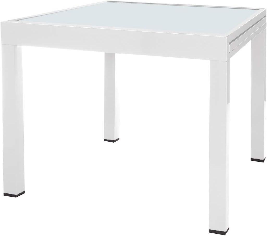 Mesa terraza Extensible Aluminio Blanco Garden - LOLAhome