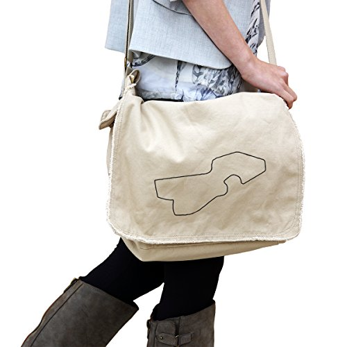 - Detroit Grand Prix Track Map for car Racing 14 oz. Authentic Pigment-Dyed Raw-Edge Messenger Bag Tote Beige