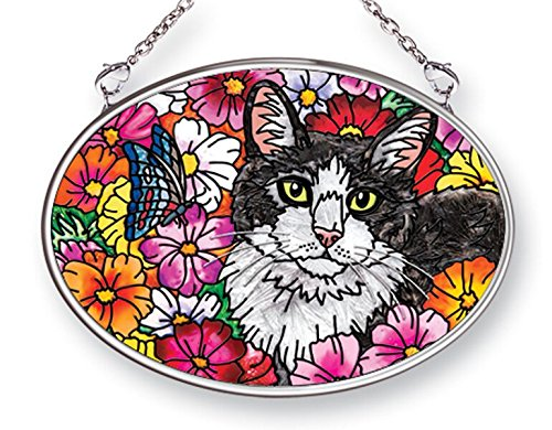 Amia 42491 Hand-Painted Glass Cat with Flowers, Hand-Painted Glass Oval Suncatcher, 4-1/4